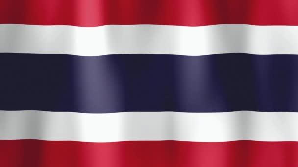 Vlajka Thajského království vlála v lehkém vánku. Větrné vlny houpají vlajkou Thajska. Animované pozadí pro oznamování událostí. Video