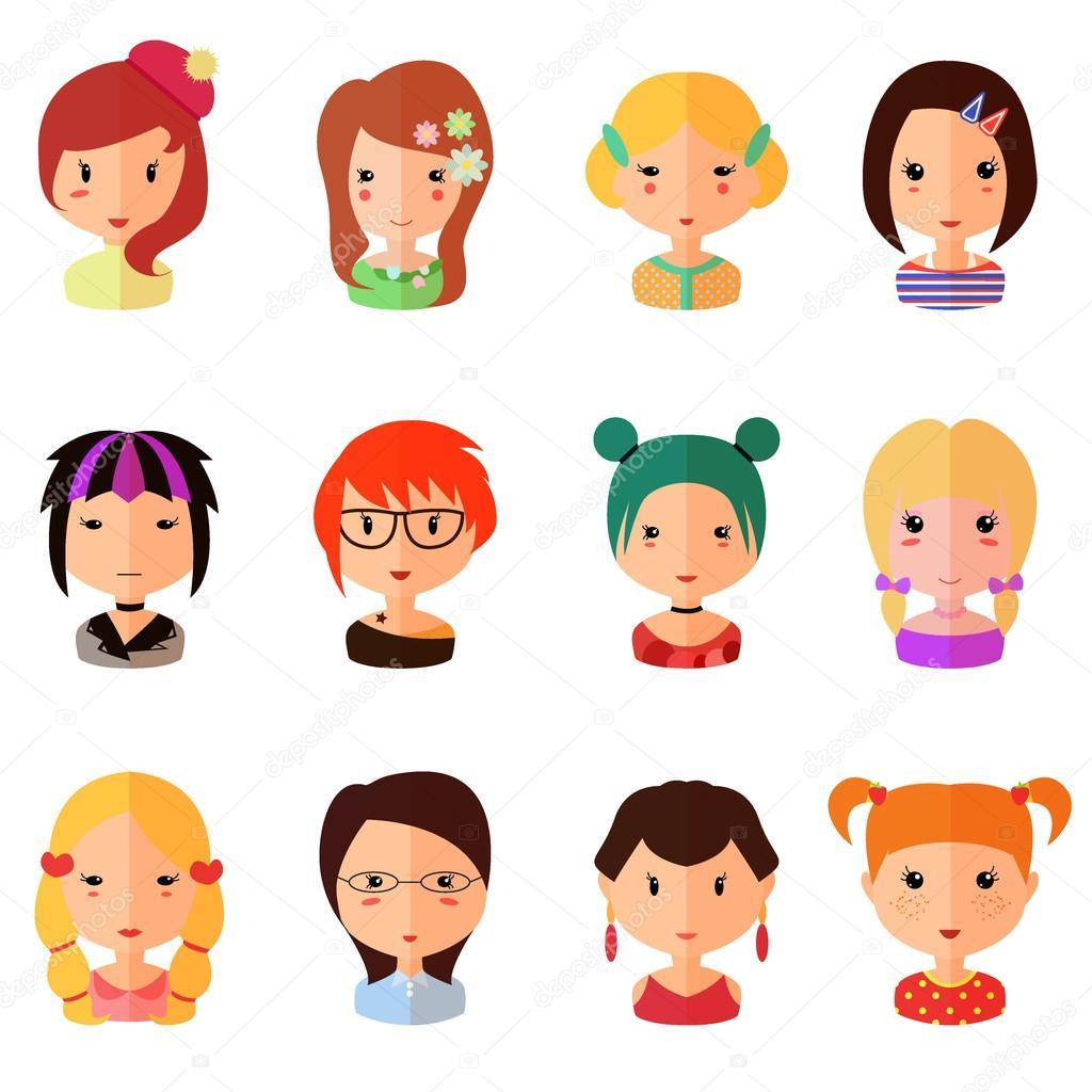 Set vettoriale di cartone animato avatar ragazze piatte