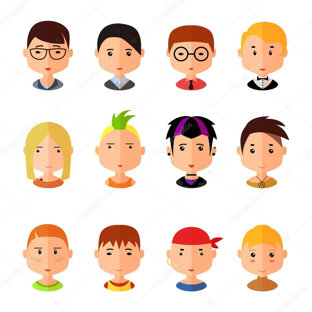 Book Icon Vector Male Student Or Teacher Person Profile: Vector Set Of Cartoon Avatar Flat Boy Icons