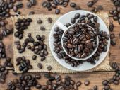 Roasted coffee beans in espresso cup