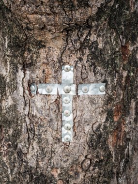 Christian cross on a tree in a Maasai village