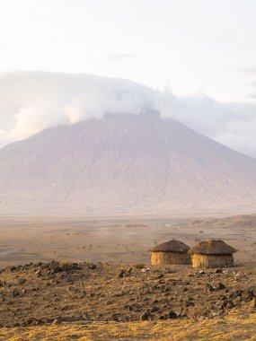 Maasai village, Africa, at sunrise.