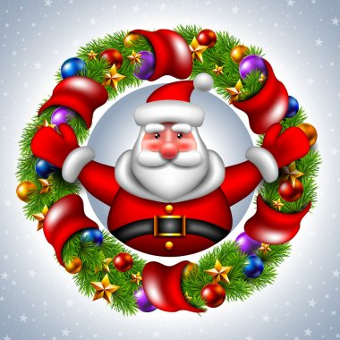 Santa Claus with Christmas wreaths