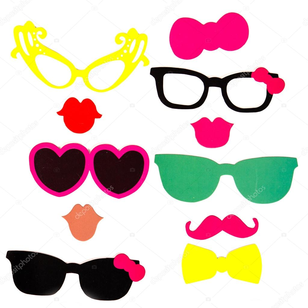photobooth verjaardag en partij set bril hoeden kronen maskers lippen snorren stockfoto. Black Bedroom Furniture Sets. Home Design Ideas