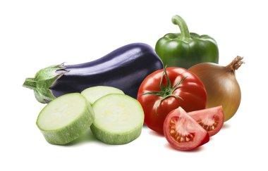 Ratatouille ingredients green pepper aubergine tomato onion isol