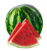Celý meloun a tři trojúhelník kusů izolované na bílém