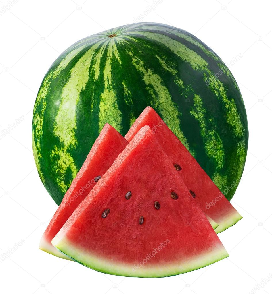 Whole watermelon and three triangle pieces isolated on white