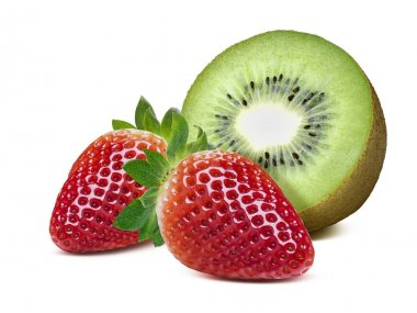 Kiwi 2 whole strawberry isolated on white background