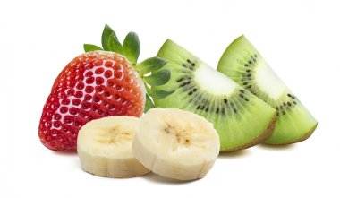 Strawberry kiwi quarter 2 piece banana isolated on white backgro