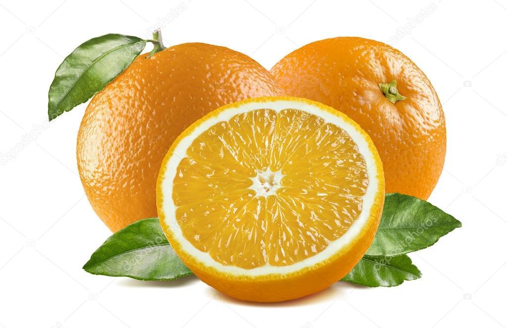 Hojas Medio 3 Naranjas 1 Aislaron