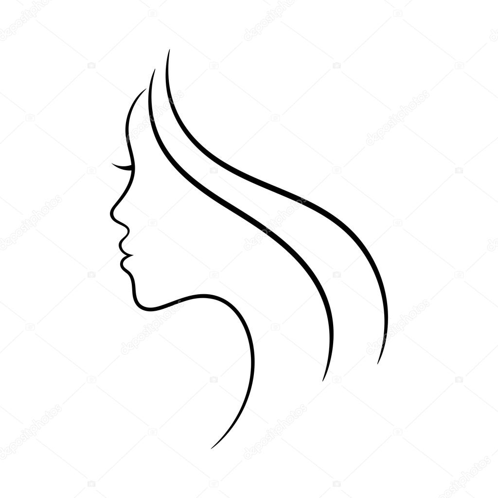 Female Face Profile Sketch May Be Used For Spa And Beauty Salon