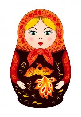 Matryoshka in autumn style with firebird