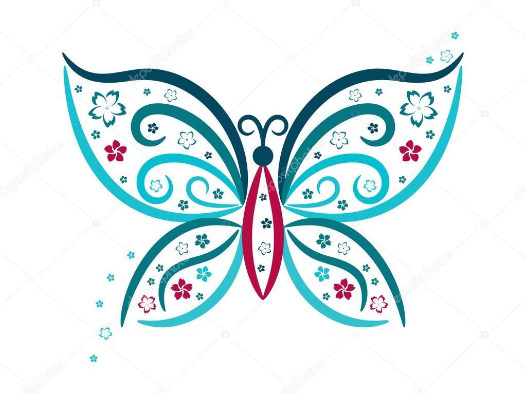 Imagenes De Mariposas De Colores: Viñeta De Mariposa Con Flores En Colores Azules Y Rosados