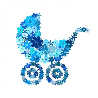 Floral baby boy stroller in blue hues