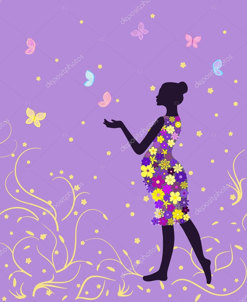 Pregnant Woman In Floral Dress With Butterflies On Lavender Background Vector Image By C Cosmosquirrel Vector Stock 98570898