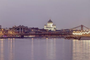 Crimean bridge and Cathedral of Christ the Saviour at night