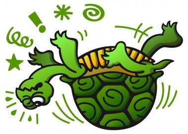 Green turtle having trouble
