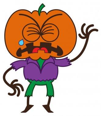 Orange pumpkin in sad mood