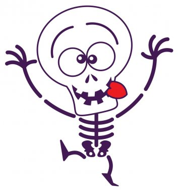 Skeleton sticking his tongue out