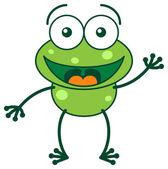 Žába pozdrav a rukou