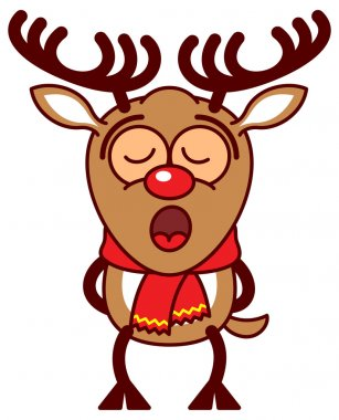 Reindeer singing totally concentrated