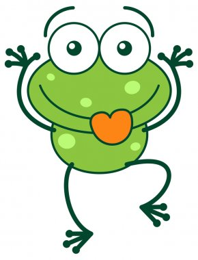 Clipart of a green frog with big head and bulging eyes, staring at you, making funny faces and sticking its tongue out stock vector