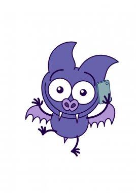 Purple bat talking on a smartphone
