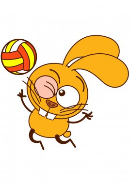 Cute yellow bunny in minimalistic style with big ears, bulging eyes and huge teeth, winking, staring at the ball and jumping high to serve while playing volleyball stock vector