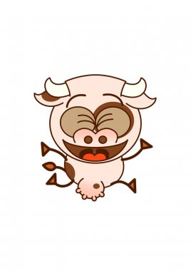 Cute cow  jumping enthusiastically