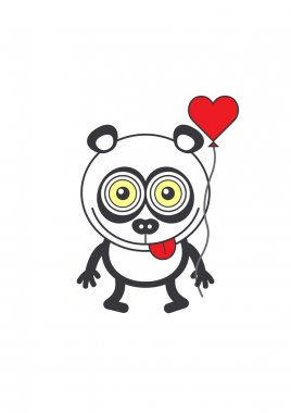 Panda bear holding a red heart balloon