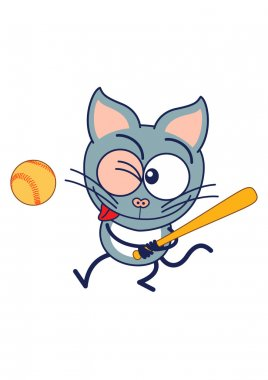 Cat grabbing the bat and staring at the ball