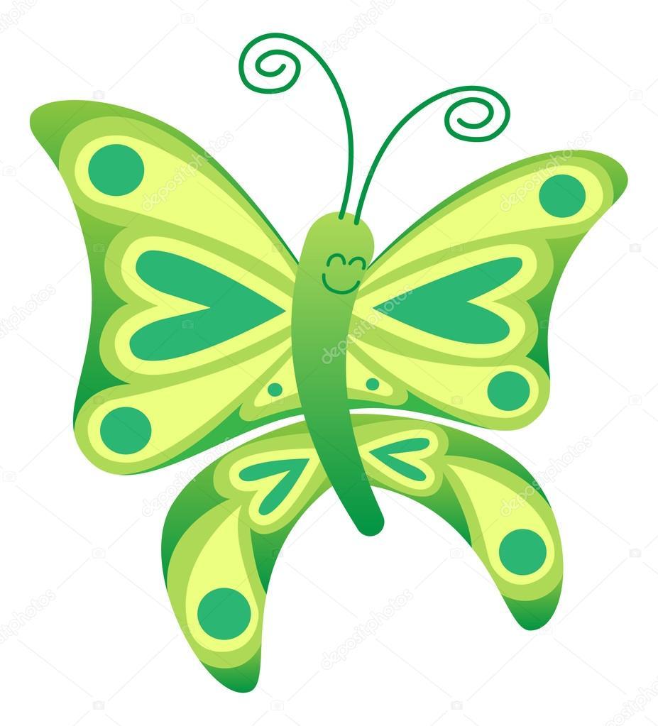 Süße grüne Schmetterling mit langen lockigen Antennen — Stockvektor ...