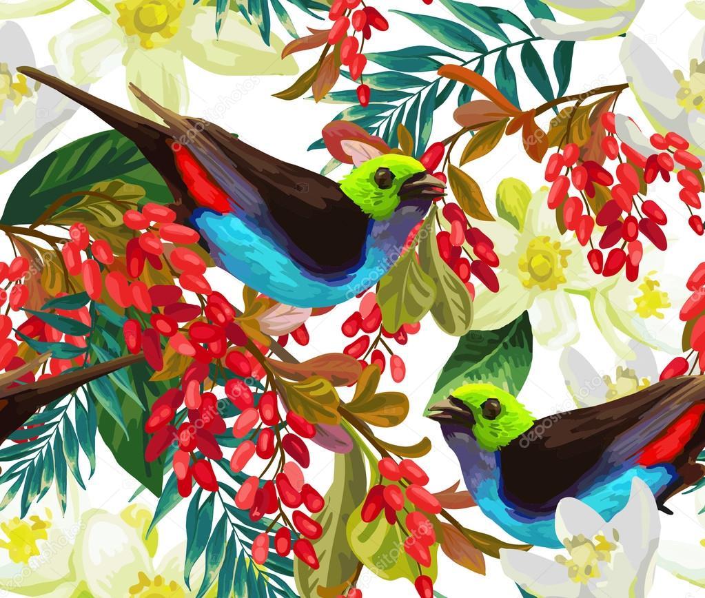 Beautiful bird, red berries and white flowers