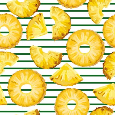 seamless pattern with pinapple on green stripe