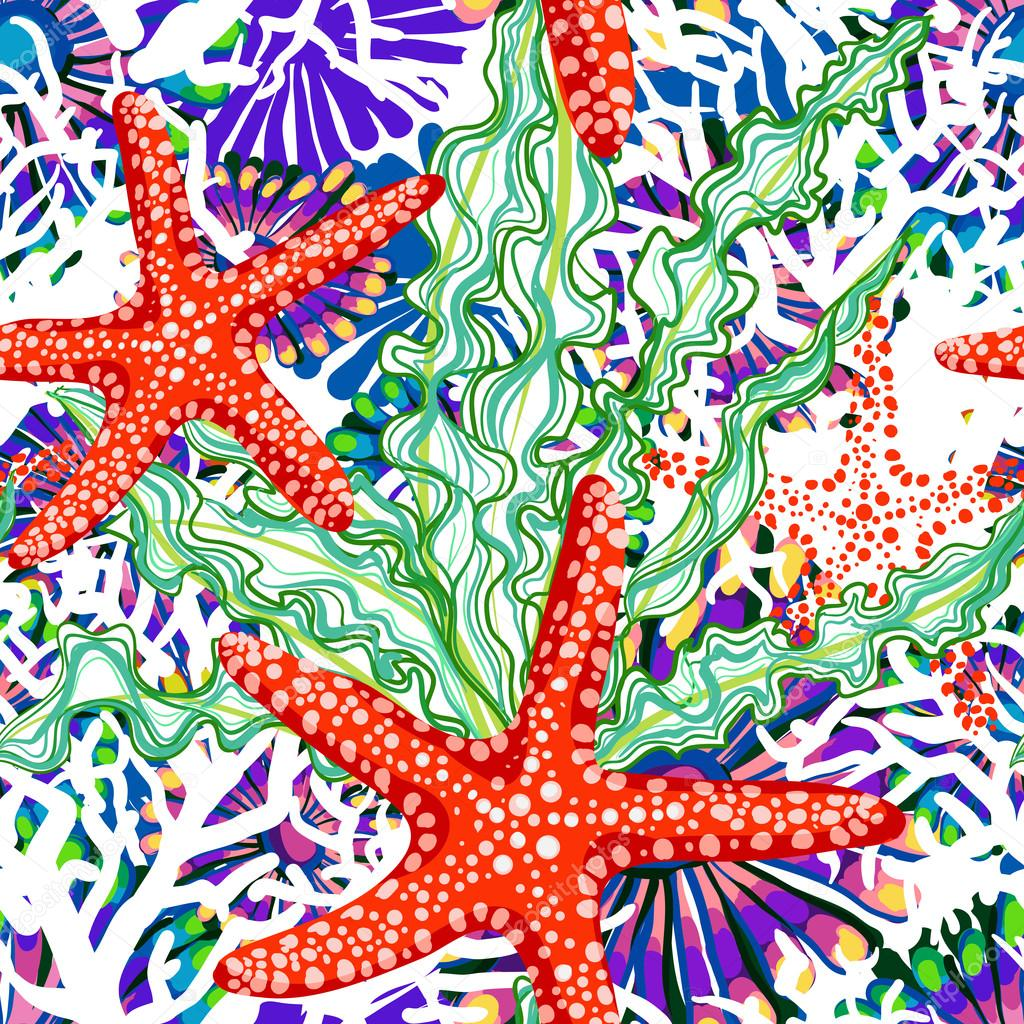 vector pattern with sea underrwater floral