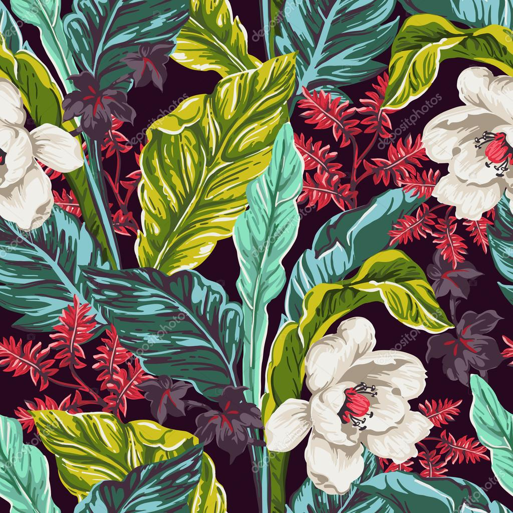 seamless pattern of exotic leaves