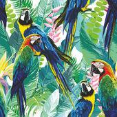 pestré papoušci a exotické květiny