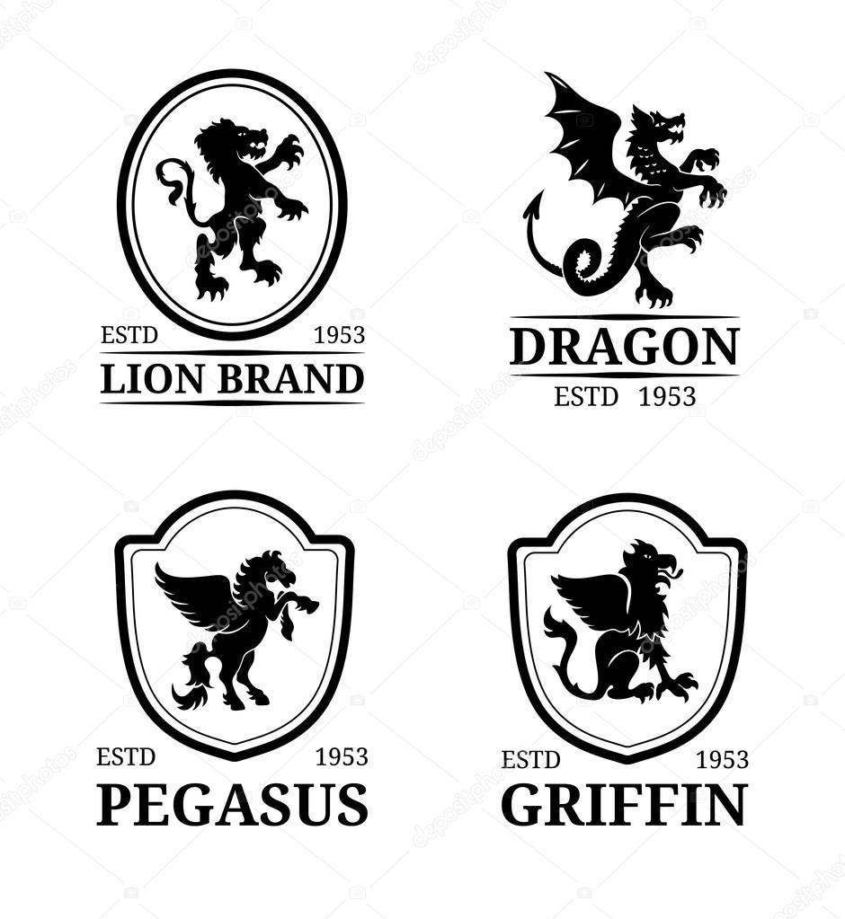 Monogramme Logos Vorlagen Tiere — Stockvektor © vladayoung #102079996