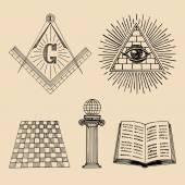 Fotografie masonic symbols set