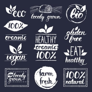 healthy eat retro logos set
