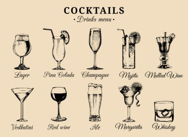 set of alcoholic drinks and cocktails