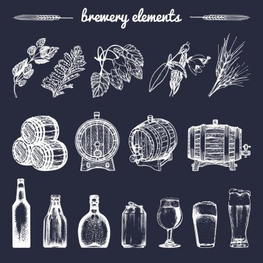 set of vintage brewery elements