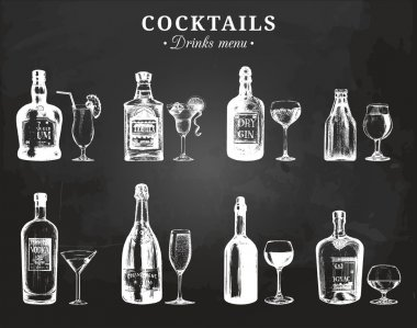bottles and glasses of alcoholic beverages.