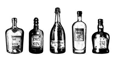 sketched bottles of alcoholic beverages.
