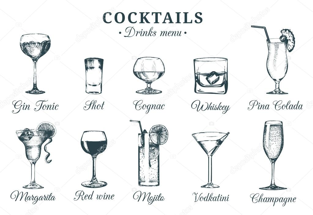 Cocktails Alcoholic Vector Glasses Stock — Of Beverages Vladayoung © 108698618