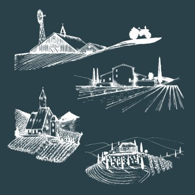 Vector farm landscapes illustrations set. Hand drawn countryside landscapes. Hand sketched farmlands in fields and hills. Drawings of agricultural villa, abbey, homestead, farmhouse in sketch style. stock vector