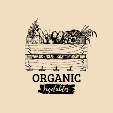 organic vegetables crate logo.