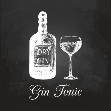 gin bottle and glass