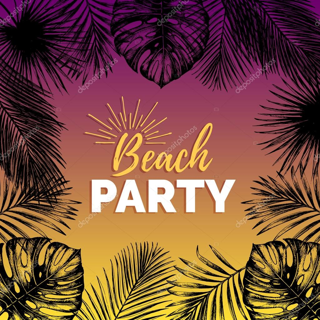 Vector Vintage Night Beach Party Illustration Exotic Palm Leaves Background Hand Sketched Jungle Foliage Poster Tropic Plants Frame