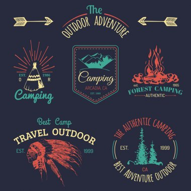 Set of vintage camping logo